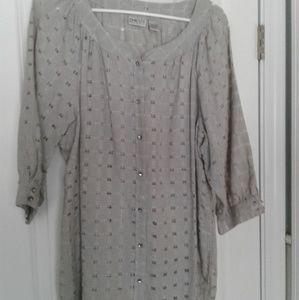 Chicos dressy windowpane shirt